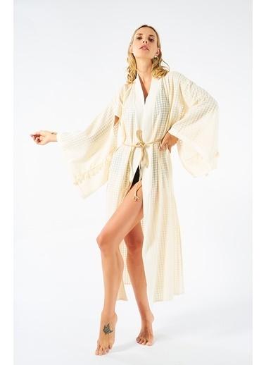 Women&Women Pamuklu Tasarım Kimono Püsküllü  Ekru